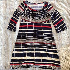 Eliza J Striped Cowl Neck Bell Sleeve Jersey Dress